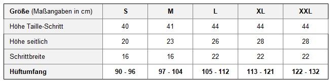 Größentabelle für Latex-Windelhose L0003