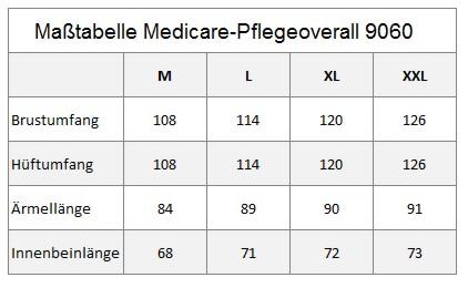 Pflegeoverall Medicare by Britta Gabriel, Größentabelle für Damen und Herren