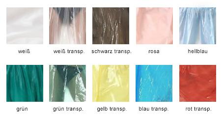 Farbübersicht für PVC-Hosen von Plastikwear