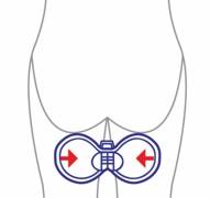 Beckenbodentrainer, Anwendung zwischen Oberschenkel im Stehen