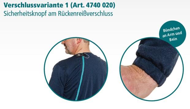 Sicherheitsknopf am Rückenreißverschluss, Pflegeoverall CarePlus 4740 von Suprima