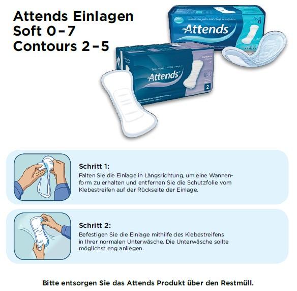 Slipeinlagen für die leichte Blasenschwäche, Inkontinenzeinlagen Attends Soft 2 Normal, Anlegetechnik