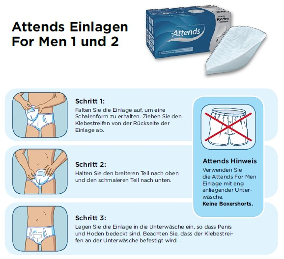 Attends for men 1, Anlegen der Slipeinlagen für Männer