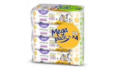 Bella Happy Baby Feuchttücher Milch und Honig, 4x64 Stück