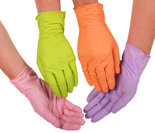 Abena Nitril Handschuhe schwarz blau orange lila grün rosa
